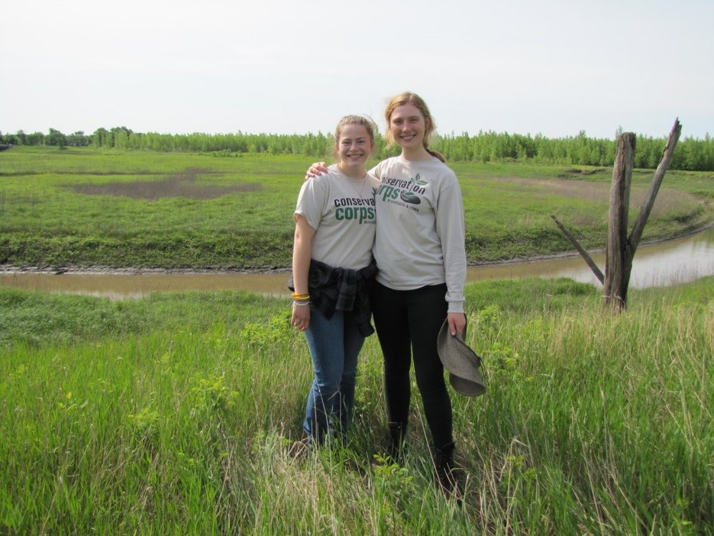 Assessing WRP easements with Veronica Lundquist (left) and Kelsey Gunvalson (right).