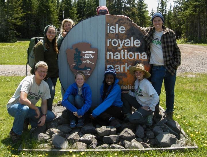Margaret's 2013 Wilderness Crew on Mott Island off the coast of Isle Royale National Park.