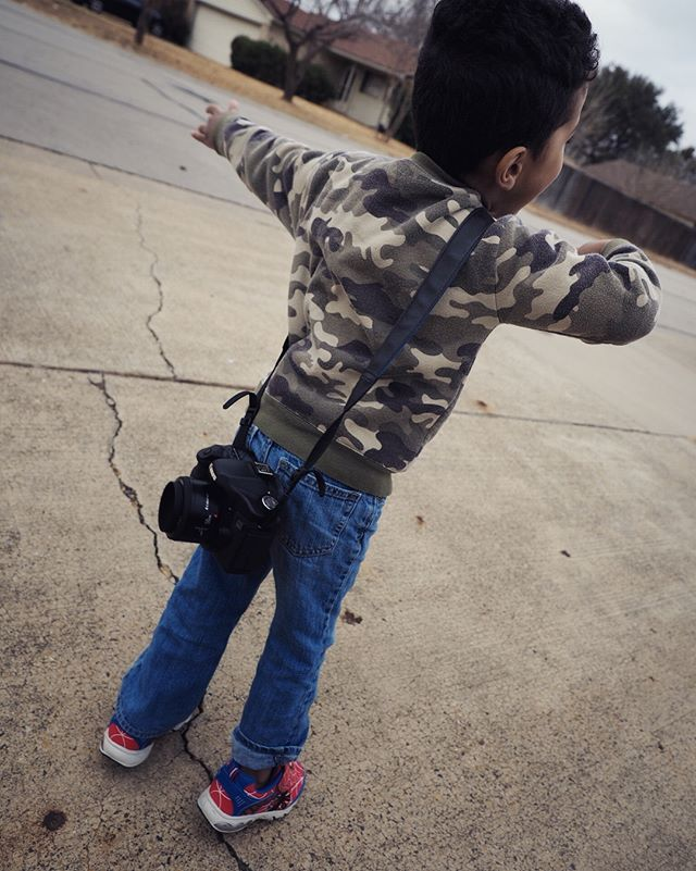 Starting this boy off early with an old rig. I never thought three was the prime age for starting on DSLRs, but I guess I've never had a three year old before.
