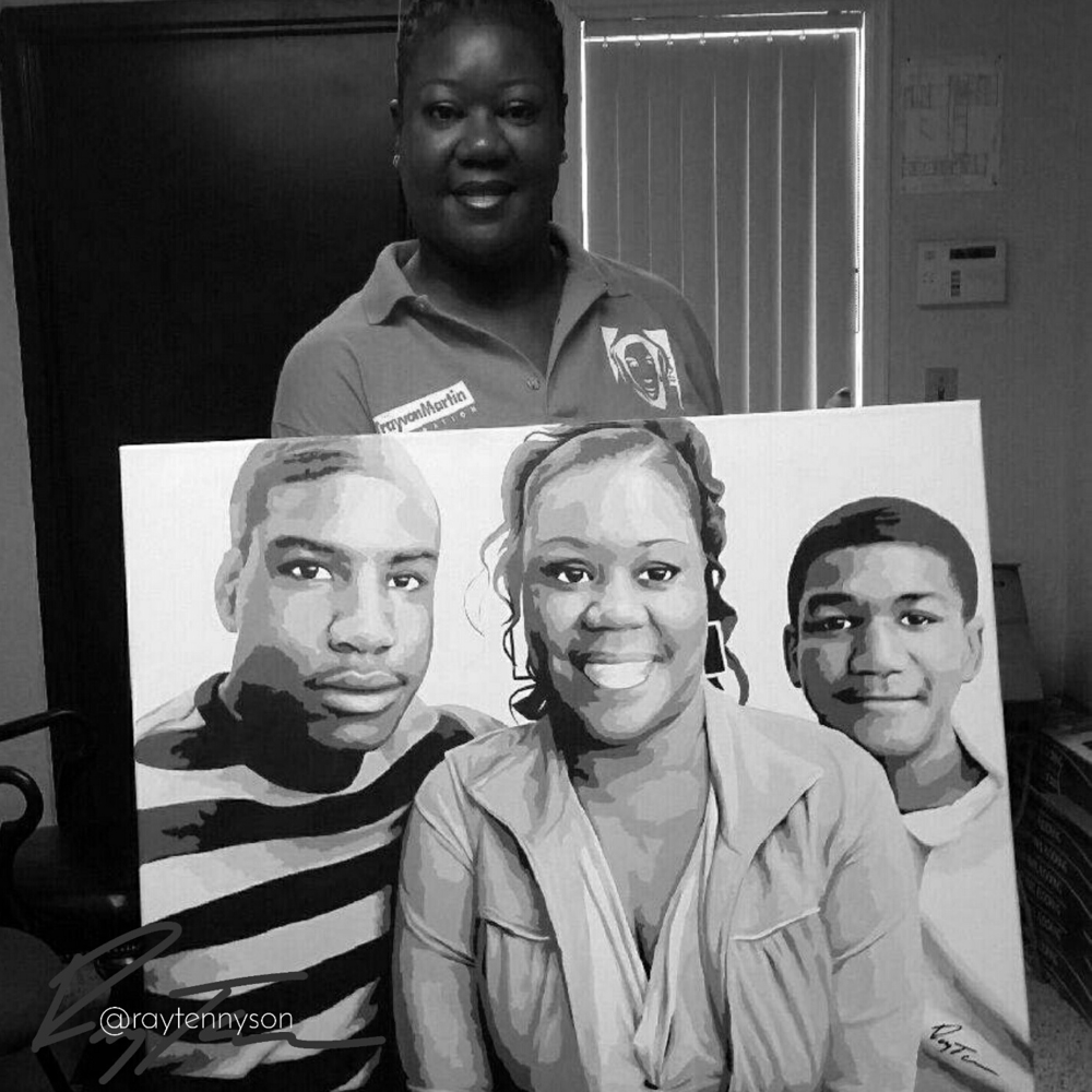 Portrait Painting by Ray Tennyson created for the Trayvon Marting family.