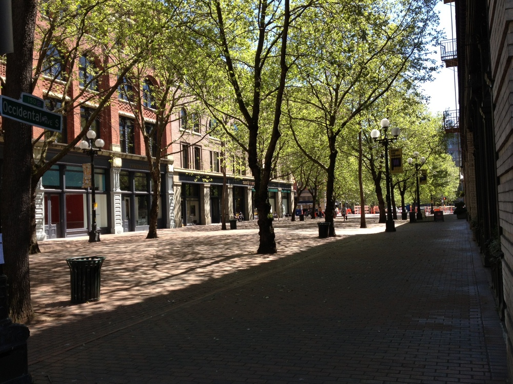 Occidental Park - all the makings of a great public space - not a soul to be found.