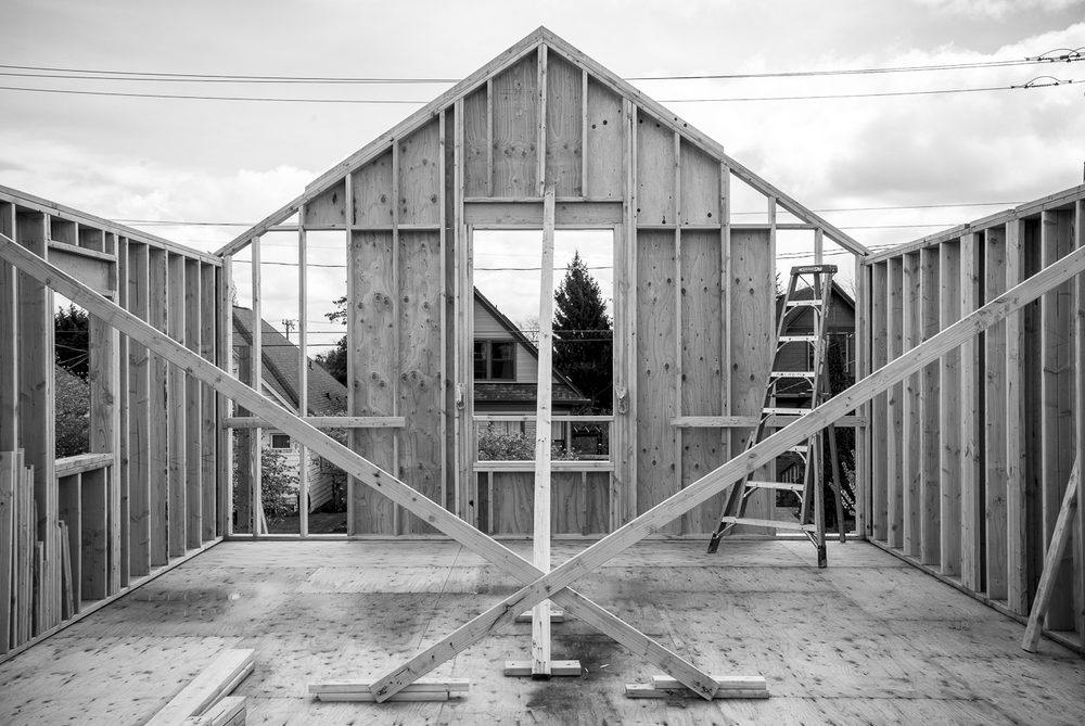 The framing stage of building a new home, design by Heliotrope Architects. Photo: Jill Hardy