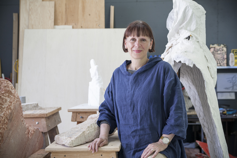 Louise Durocher in her art studio in Seattle.