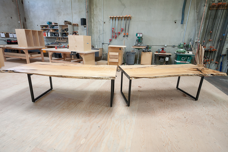 The tavolàta, in Dovetail's wood shop, before being shipped to the restaurant.