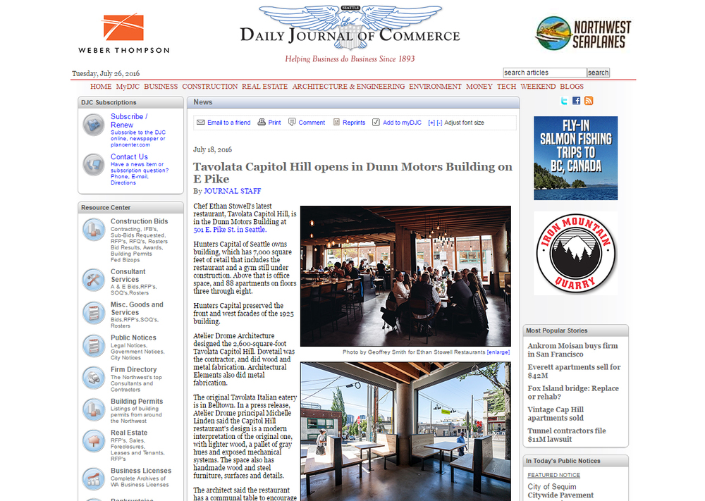 Tavolàta in Seattle's Daily Journal of Commerce. Click image to read the whole story.