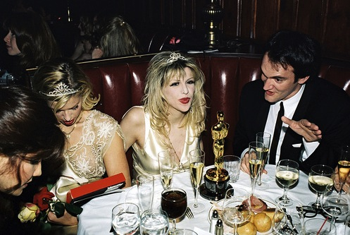 At the March 1995 Oscars, Courtney Love grabbed Quentin Tarantino's Oscar award for Pulp Fiction,  and threatened to hit journalist Lynn Hirschberg with it. Hirschberg had previously written an article for Vanity Fair claiming Love used heroin while pregnant.