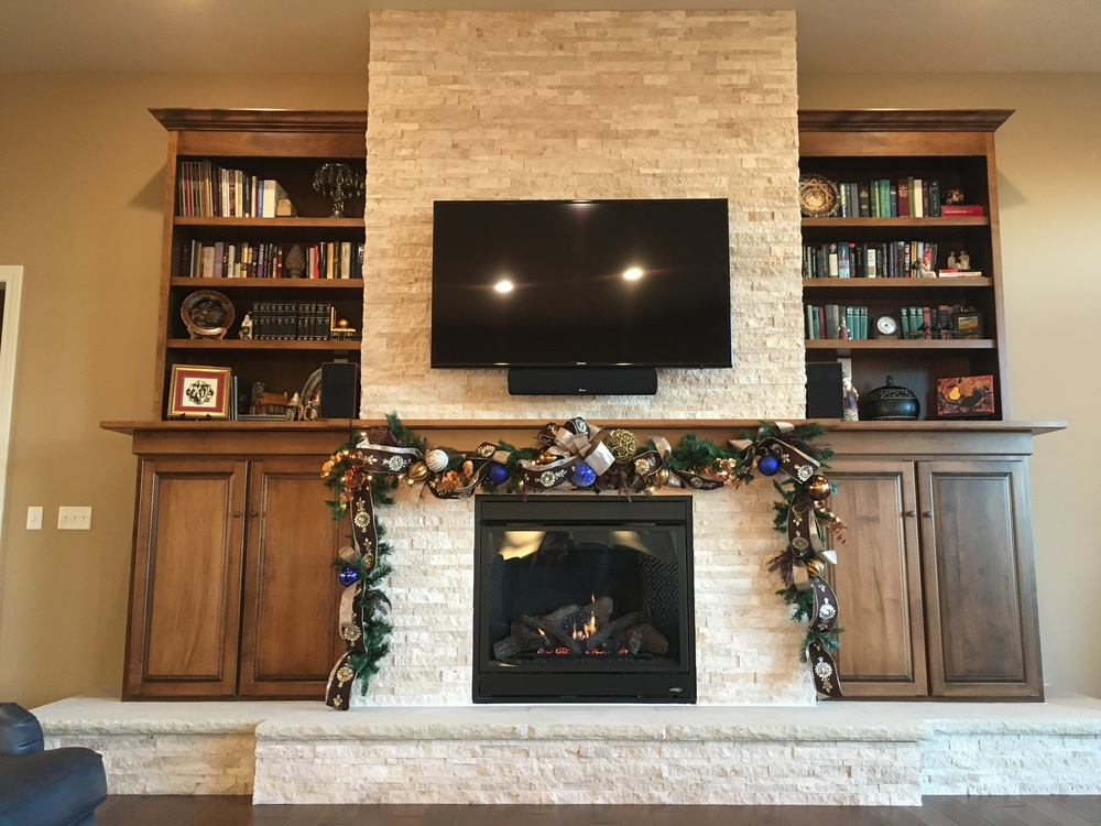 Rueseler's custom designed fireplace and Christmas decor, by yours truly.