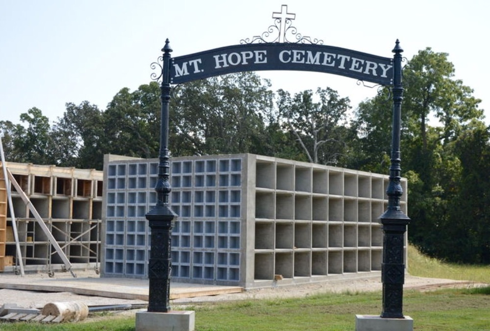 Early stage of the Mt. Hope Cemetery mausoleum in Perryville, MO.