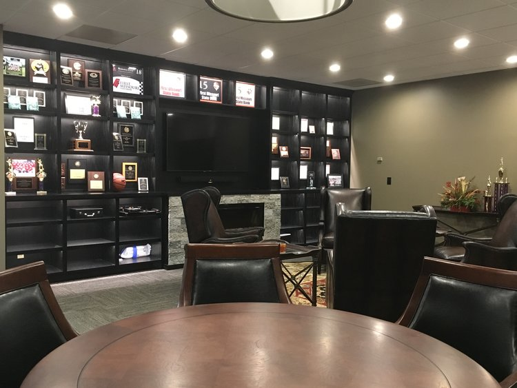 Black Custom Designed Trophy Case And Modern Fireplace Wall Uniqueambiance