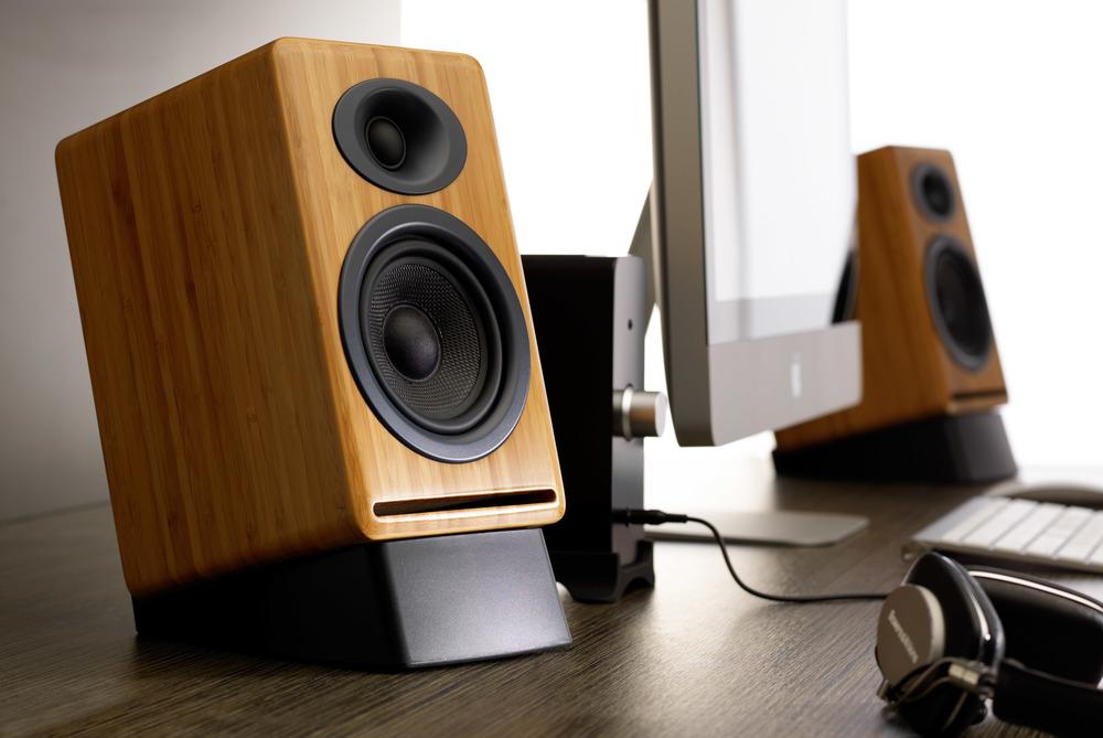 Computer Listening Setup Audioengine P4 Speakers and N22 Amplifier.