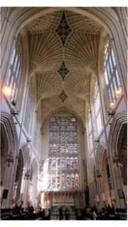 Cathedral at Bath, England.  Good for monophonic chant but polyphonic music turns to mush in cathedrals.
