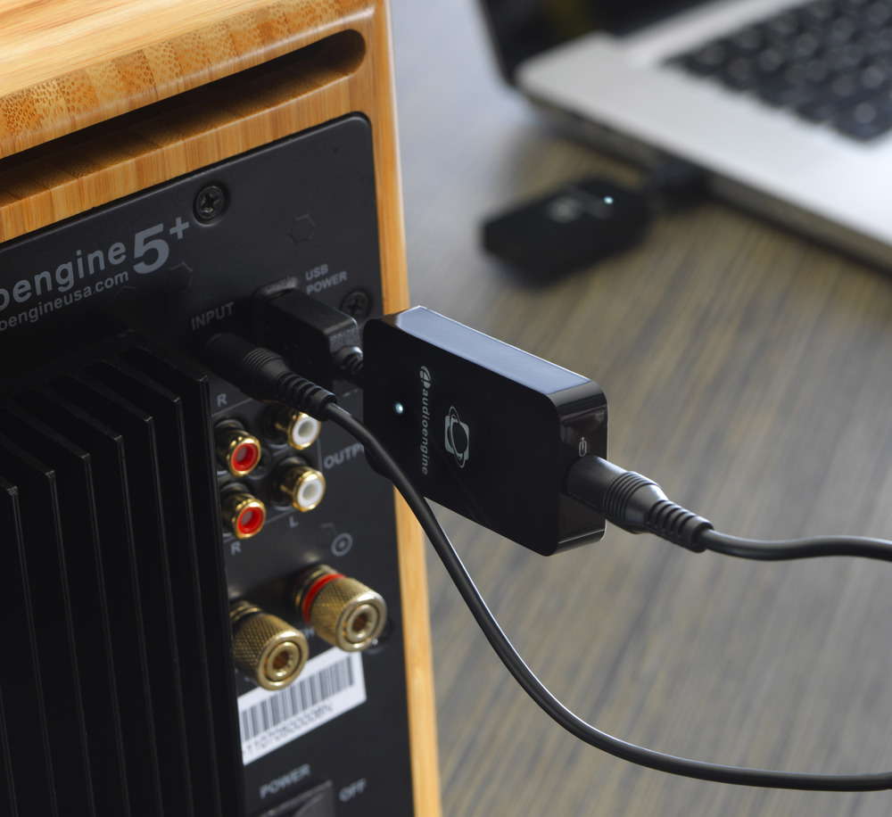 Audioengine 16-bit W3 Wireless Audio Adapter connects any analog or digital music source to anything that plays music and has input connectors.  $149 on iHi-Fi.com.