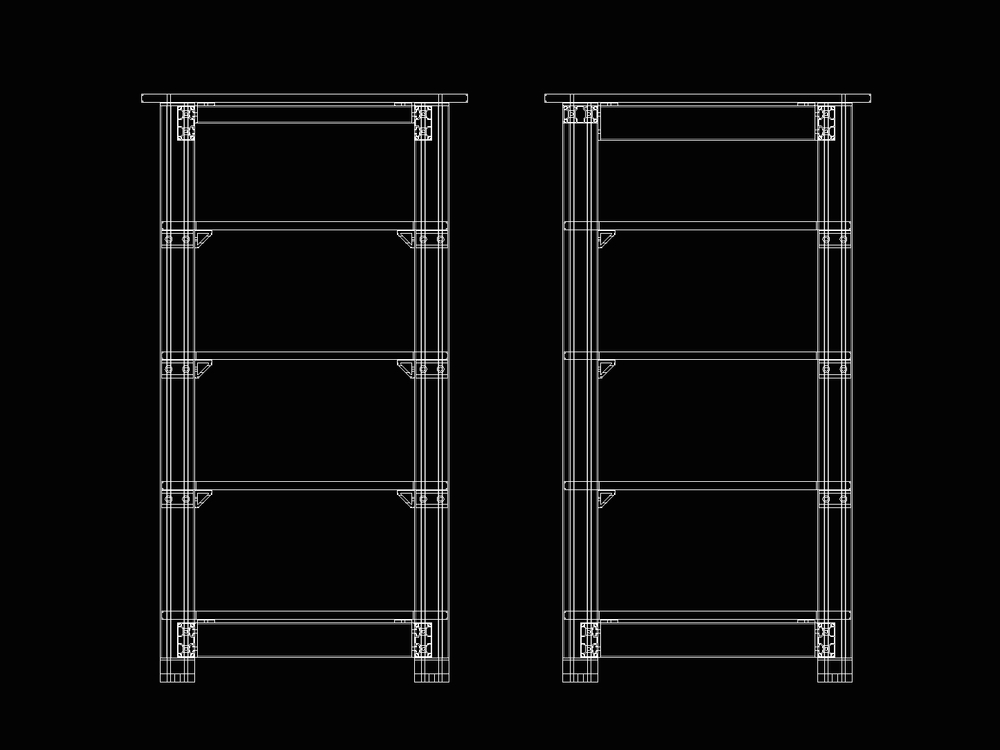 iHi-Fi 3D CAD development for Masiv Acoustic Isolation Rack.  Front (L) and side (R) views.  Leveling feet with anti-vibration are included (not shown.) The whole rack is vibration-damped and so is each shelf, individually.  Means are provided to easily isolate each system component as well.  Click the photo for a larger view.