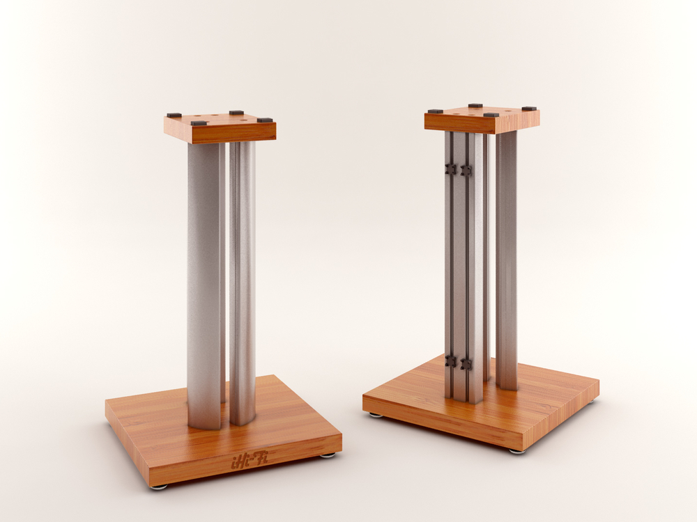 CAD rendering of the iHi-Fi Masiv Speaker Stand design.  It includes both massive mechanical grounding and two levels of acoustic damping to help perfect your whole audio system's musical performance.  Available soon as standard models or fully customized to match your specific speaker model's look. Click photo for a larger view.