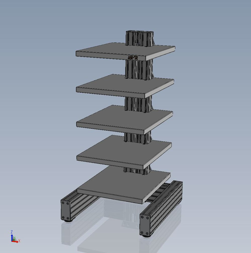 3D CAD image of new iHi-Fi IsoVybra Audio Rack. Can you see the two levels of vibration damping suspension?