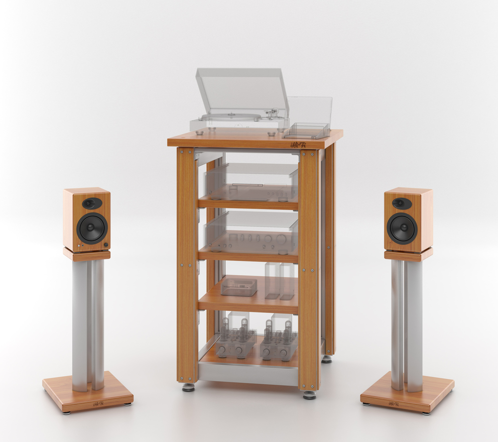 The original iHi-Fi Masiv Audi Rack is semi-custom, offering a host of user definable features. Speaker stands can be fitted to any monitor to create this custom look.