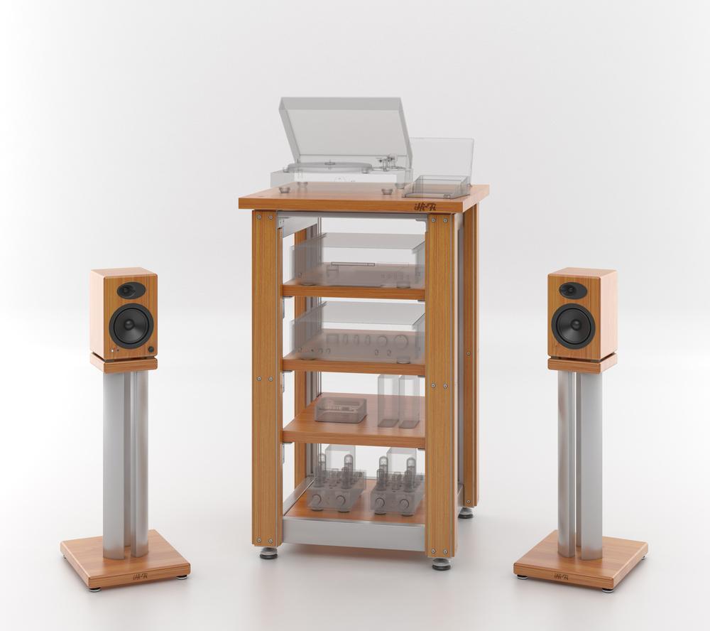 The iHi-Fi Masiv Audio Rack withfascias option and matching custom Masiv Speaker Stands