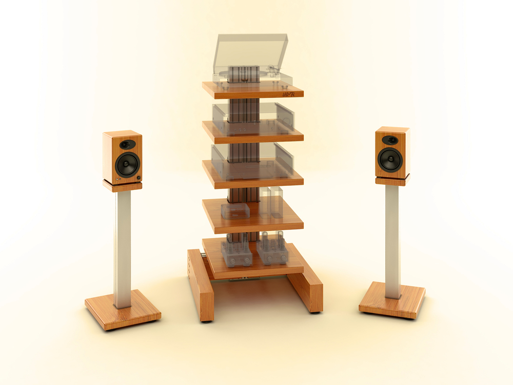 The iHi-Fi IsoVybra Audio Rack with Wood Base and matching custom Speaker Stands