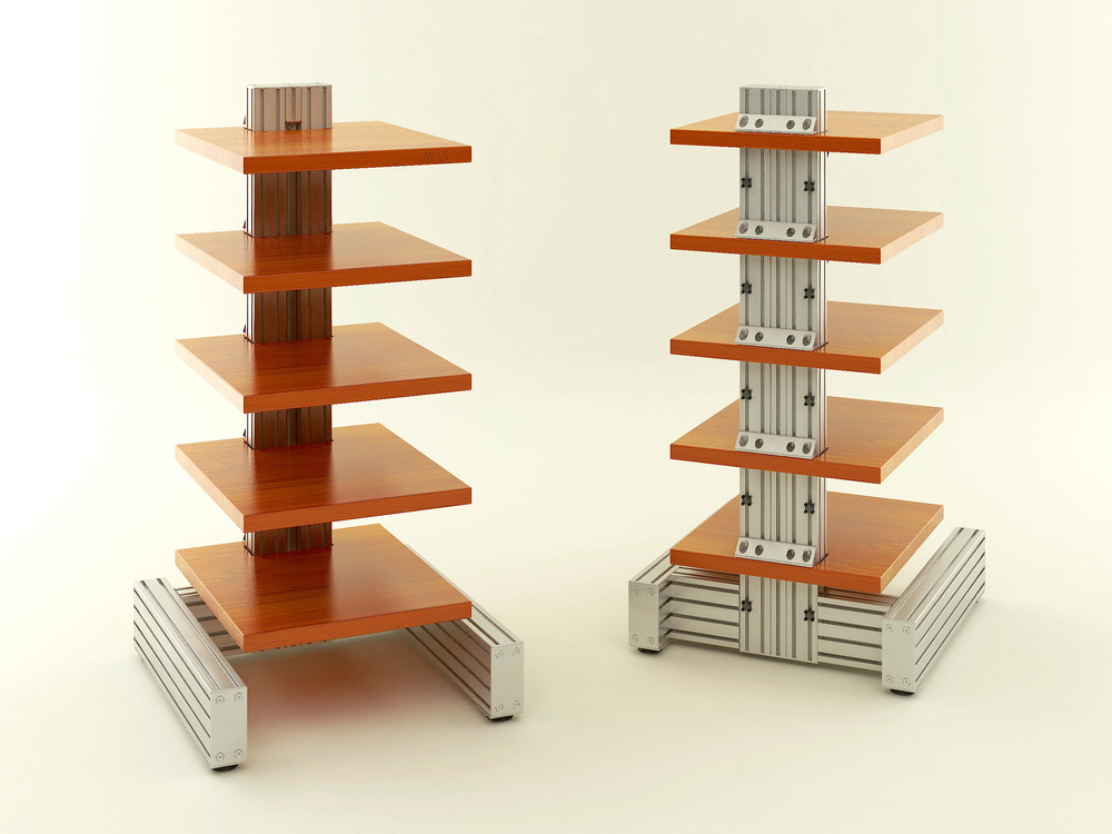 """The """"nude"""" IsoVybra Audio Rack demonstrates amore technical or Industrial styling achievable sans optional wood trim."""