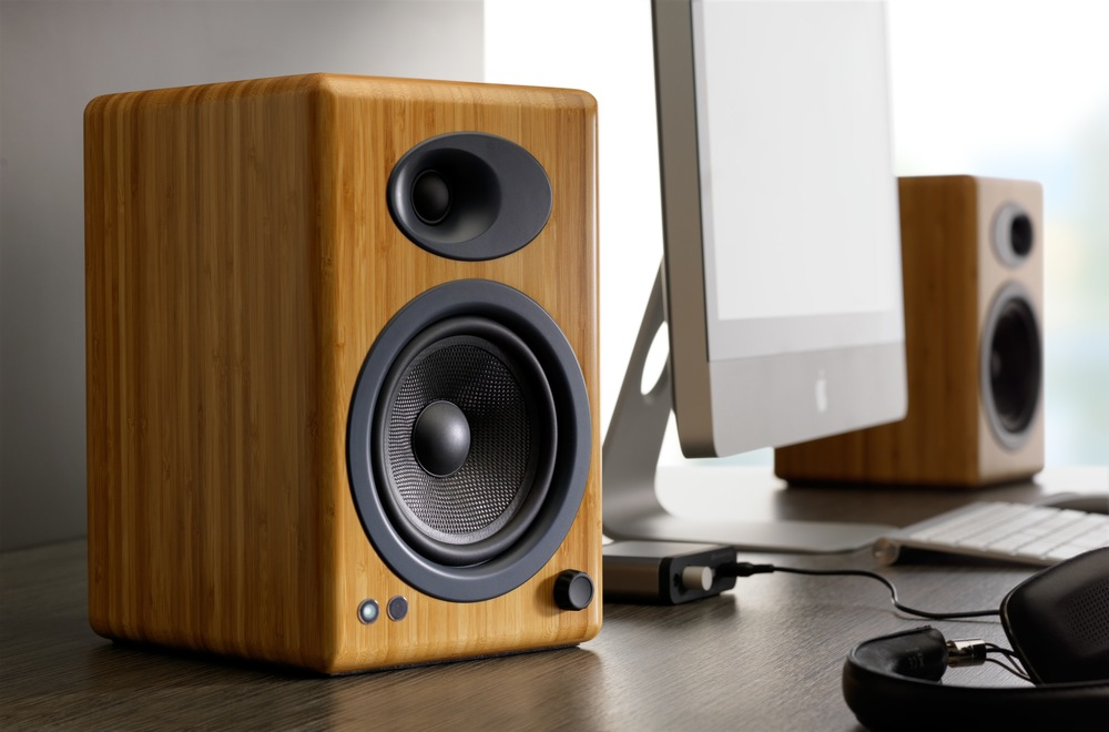 Audioengine A5+ Bamboo speakers have plenty of power to drive even a large room, are very well reviewed, and highly recommended for cost/performance value.