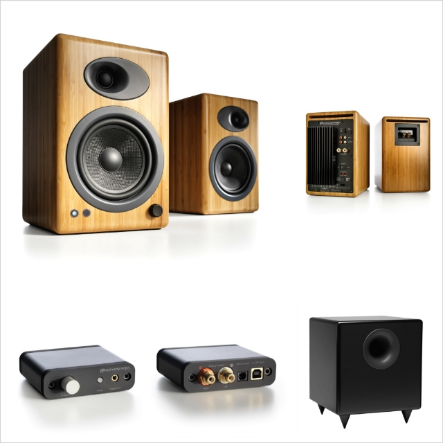 This more advanced system is offered as a package from ihi-fi. This setup minimizes cost at the level where you get superb musical playback equal to systems costing 10 times more. includes the A5+N Bamboo speakers, D1 24-bit DAC, and S8 Subwoofer.
