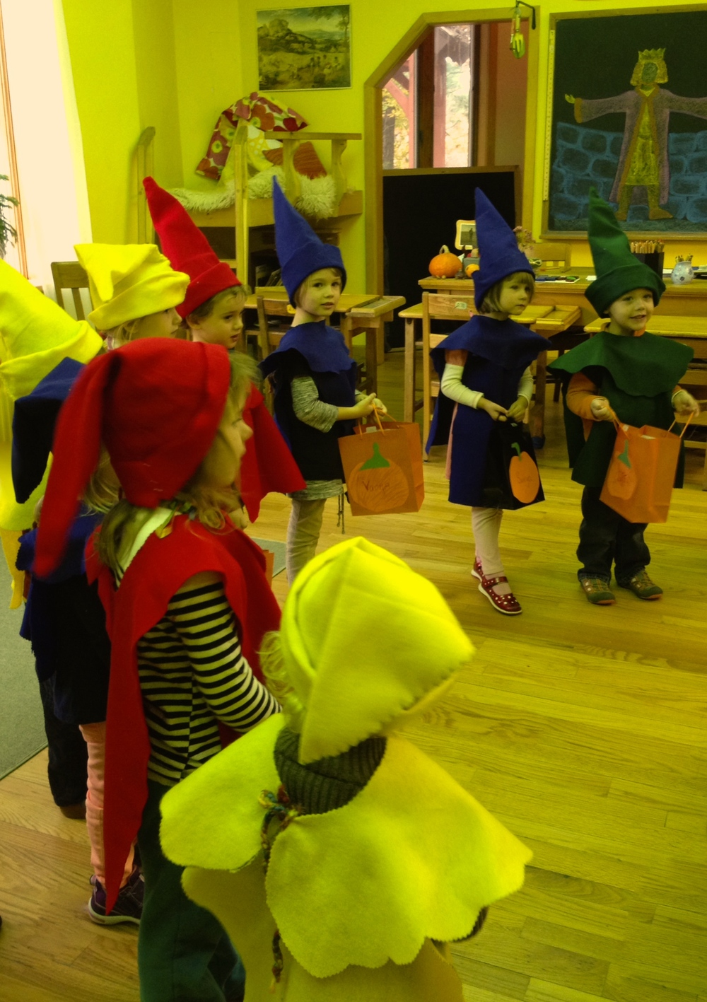 Halloween gnomes visiting a Pine Hill classroom, 2014