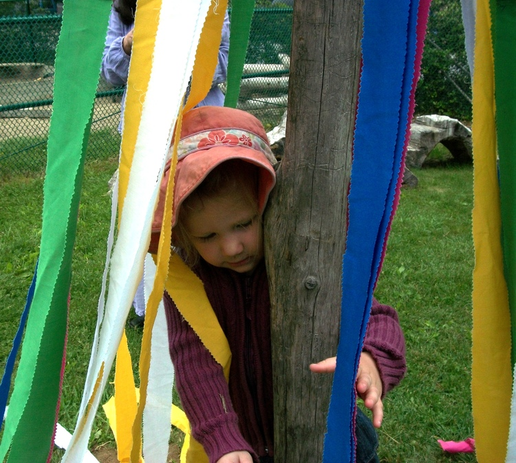 Toddler enjoying the ribbons
