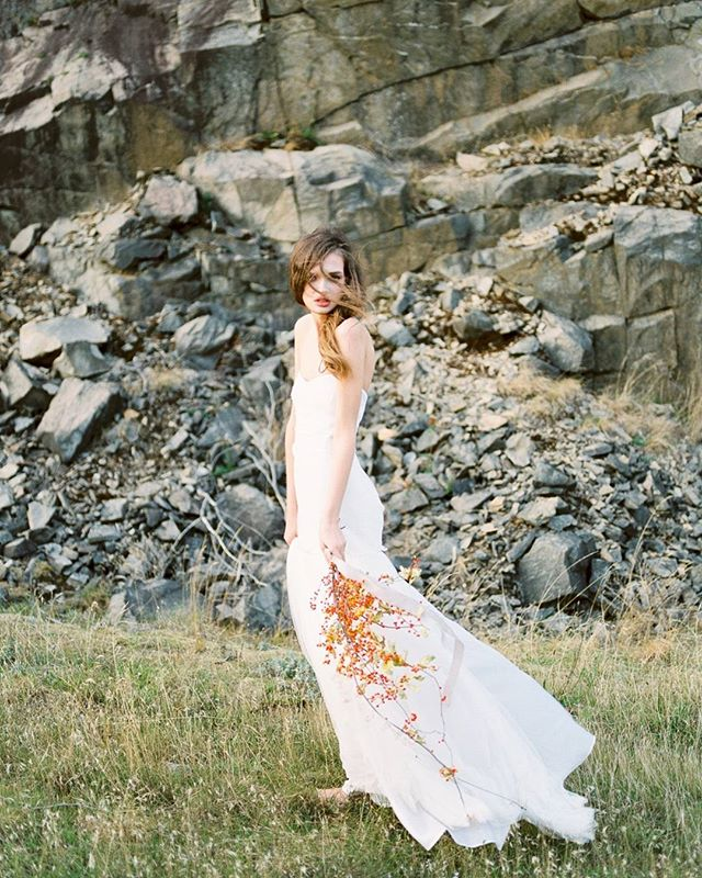 Wind swept Janelle at in the Columbia Gorge for the win!  Featured by @bellelumieremagazine.  Co-concept with @shannyv  Gown: @elizabethdye  Hair & makeup: @austieeckley  Florals: @ponderosa_and_thyme  Model @jangles3 of @option_models Film lab: @phovovisionprints
