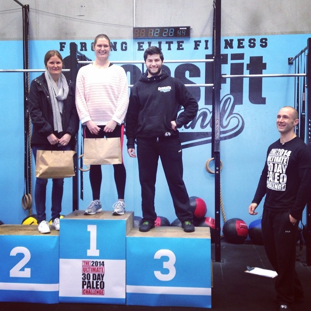 Above: The winning women of the 2014 ULTIMATE 30 DAY PALEO CHALLENGE - Chanel, Jess and Clare (with Coach Dylan taking Clares place as she could not attend).