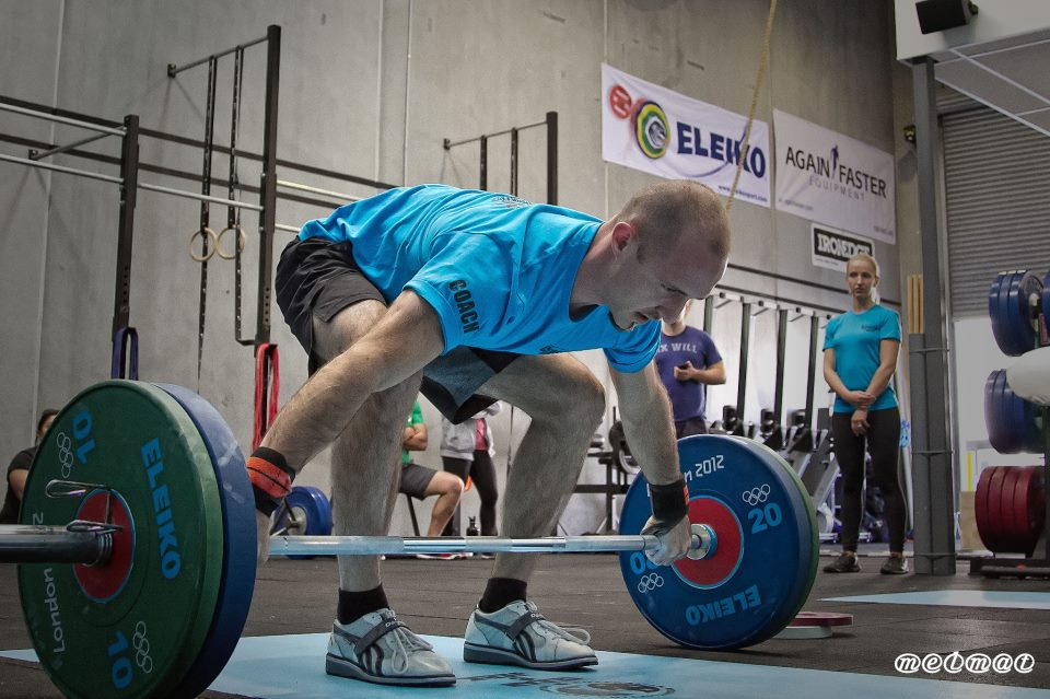 Above: Coach Benjamin preparing for the most powerful lift in sport, the snatch!