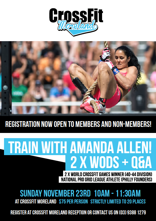 Above: Amanda Allen is coming to CrossFit Moreland!
