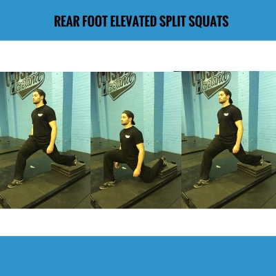 Action: back toe tucked - focus on front knee - no lateral knee movement - drive through heel to stand. Add weight by holding a weight plate or Dumbbell against the chest.