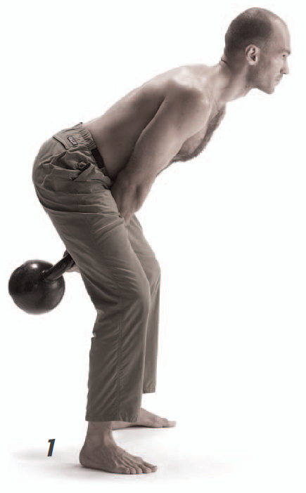 Above: Pavel Tsatsouline completing the end or bottom position of the KB swing (Tsatsouline, 2006).