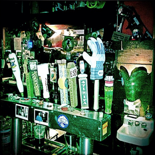 Our tap handle: A work glove inviting you to give it a hand.