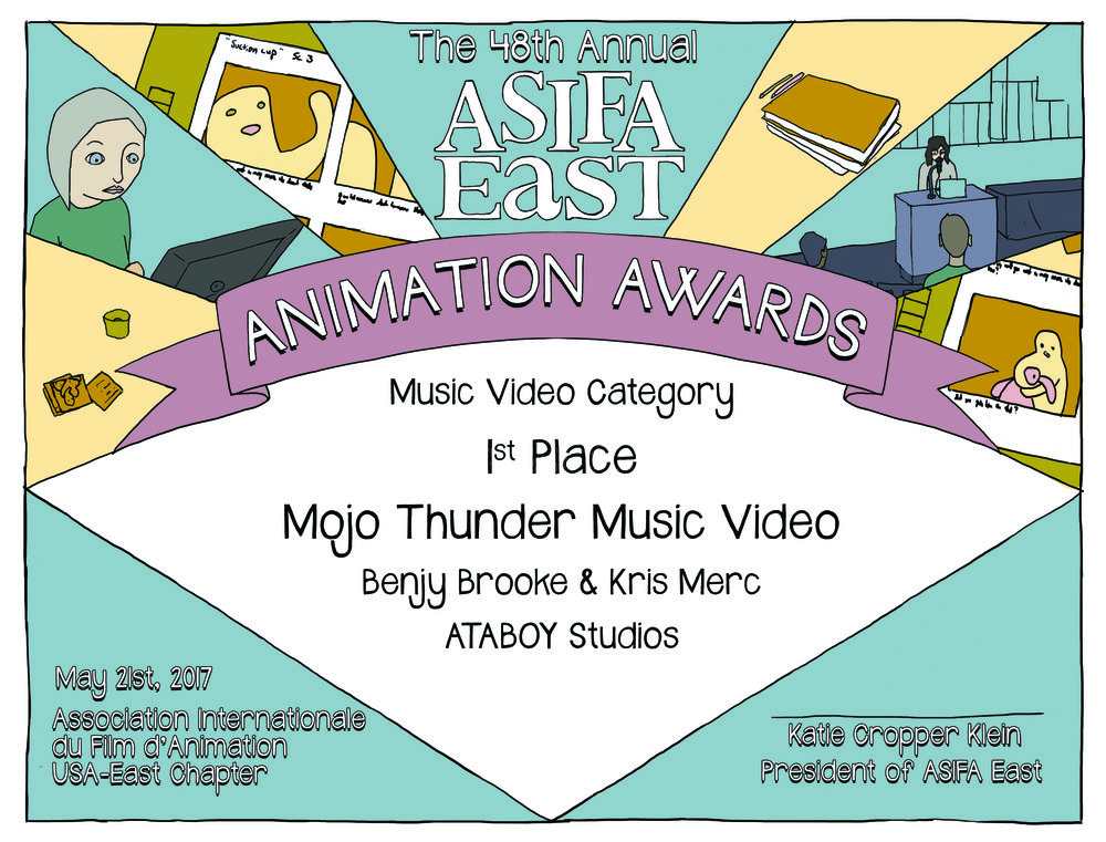 Designed Award Certificates for the ASIFA East Animation Awards Art Direction
