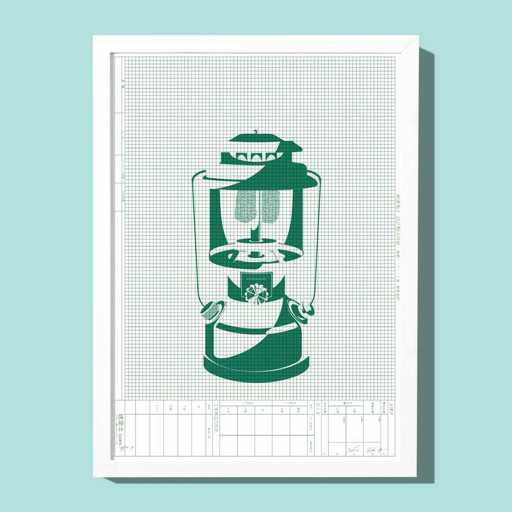 Silkscreened green lantern on Japanese drafting paper for your cabin or cottage.