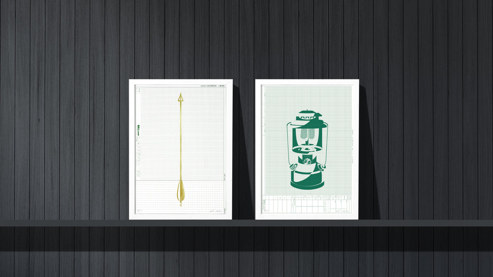 Art prints for your cabin or cottage. Hand-done golden arrow and green lantern.