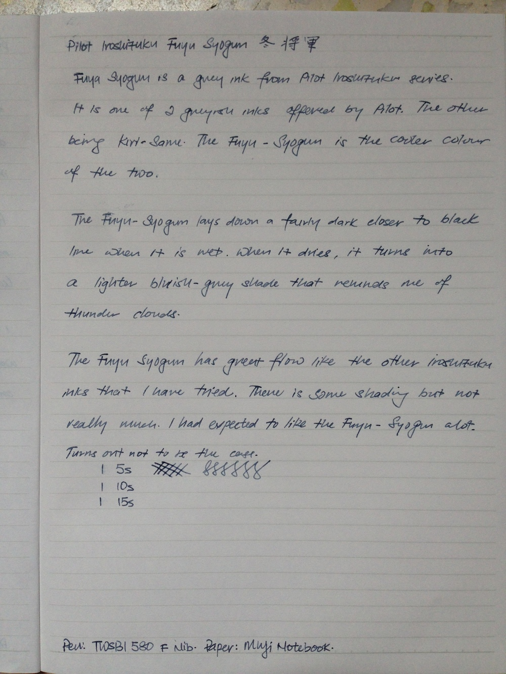 Handwritten review of Fuyu Syogun