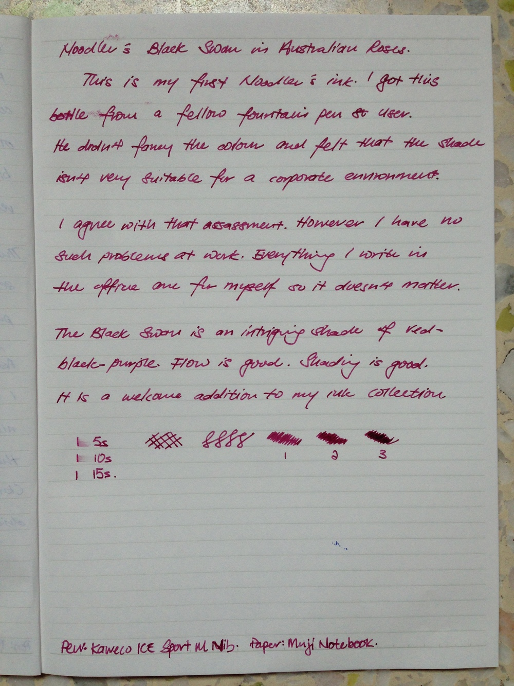 Written review of Noodler's Black Swan in Australian Roses