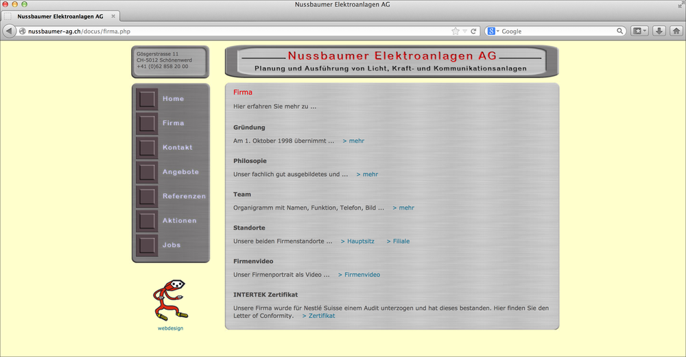 Die alte Website …