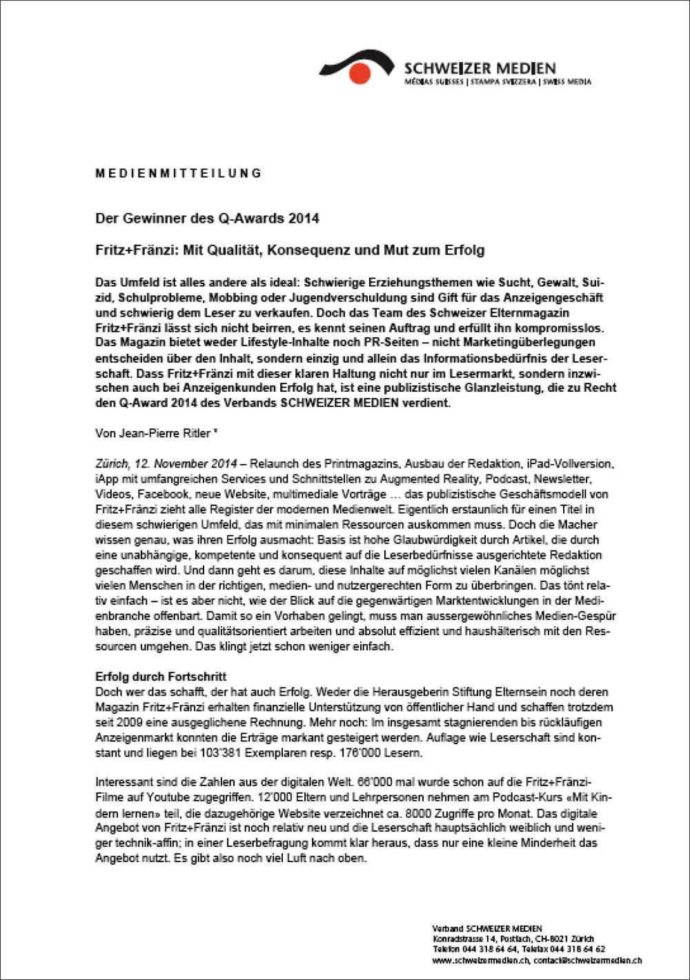 Die Medienmitteilung mit der Laudatio (PDF).