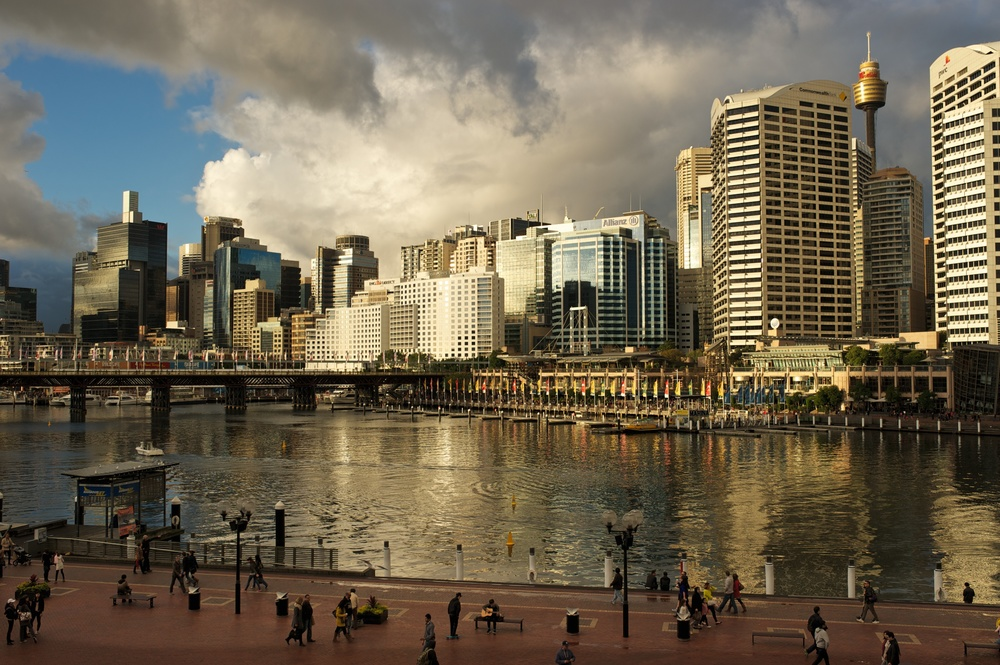Lovely city in the evening; from the Convention Centre in Darling Harbour.