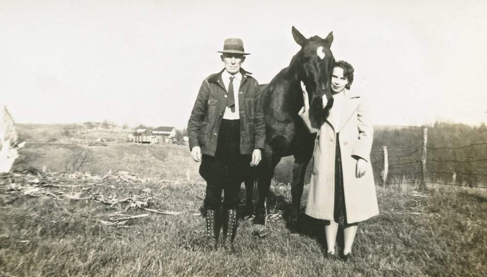 My great-grandfather, Kester Divers and my Grandmother Lenora (horse name unknown though I'm sure my grandmother still remembers)