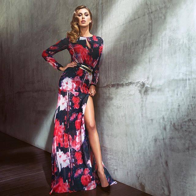 maxi dress MARCIANO by GUESS indossato da Belen Rodriguez