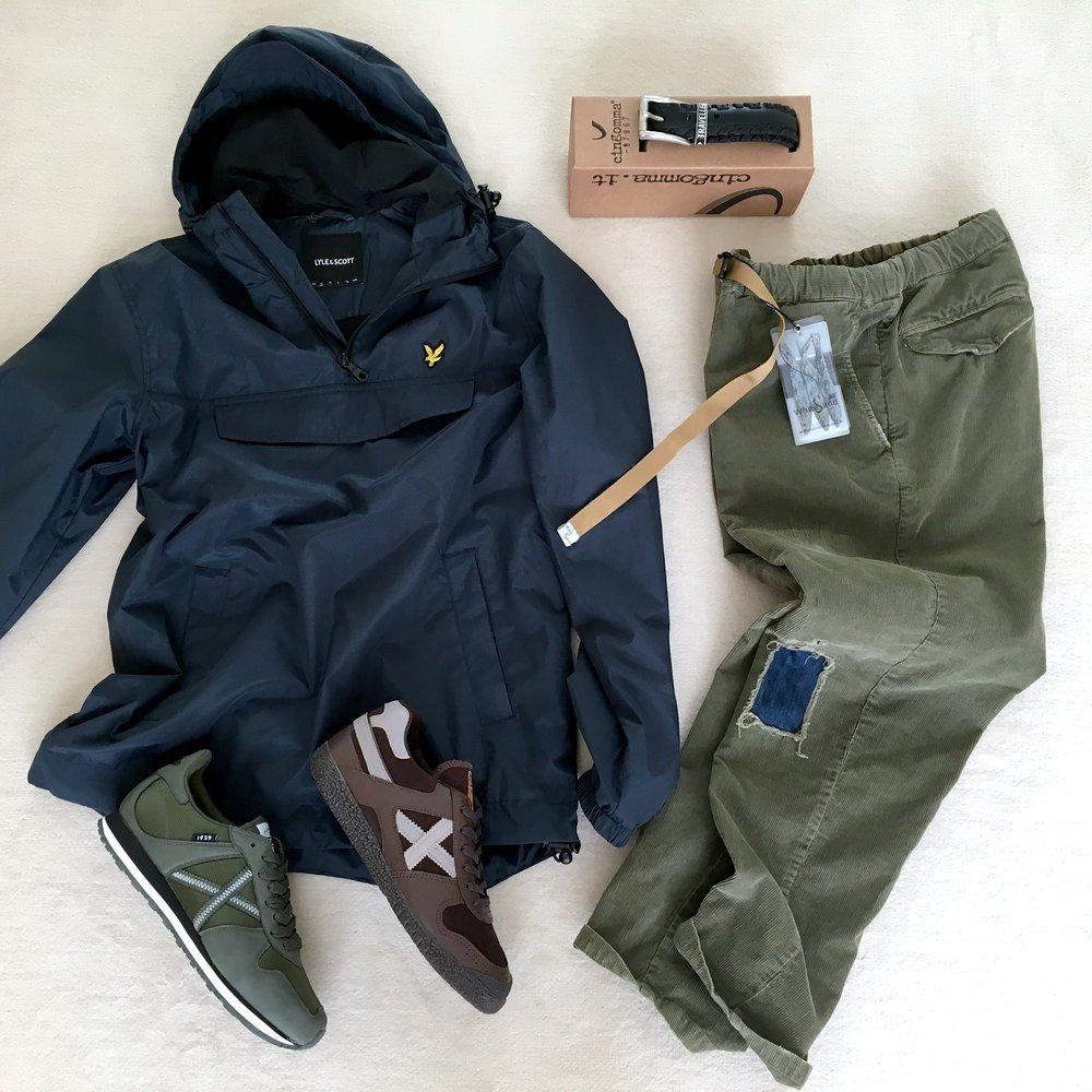 anorak LYLE &SCOTT + pantaloni WHITE SAND + sneakers MUNICH + cintura CINGOMMA