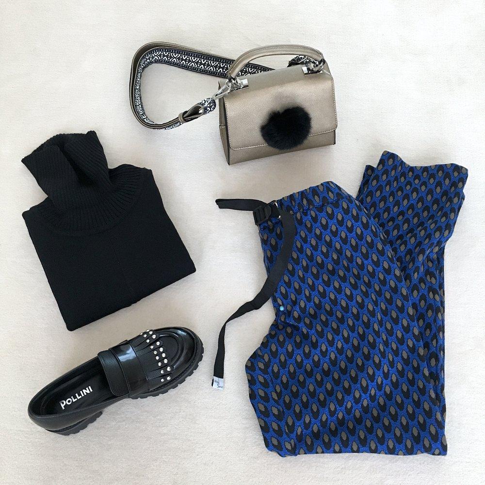 EGO LOOK: dolcevita ALPHA STUDIO + pantalone WHITE SAND + borsa TOSCA BLU + mocassini POLLINI
