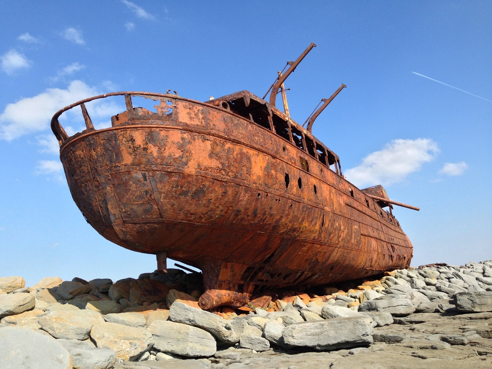 This is the   Plassey  , an awesome-looking shipwreck on Inis Oírr. It ran aground in 1960 and has been rusting away ever since.