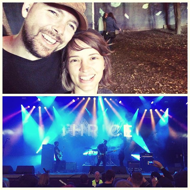 Festivaltime!!! Ben and Klara @andtherecomethewolves seeing Bens #favoriteband #thrice 🎤 #finally #thrice2016 #metawesomepeople #concert @thrice - thanks for coming to Austria !! You guys rock. 😀🙃☺️ #wolves2016 #live #festival #concert #inlovewithmusic