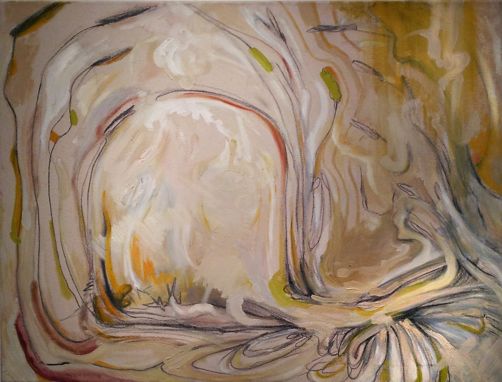 "it takes time (clay from the river), 26x36"", oil and graphite on canvas, 2012, private collection"