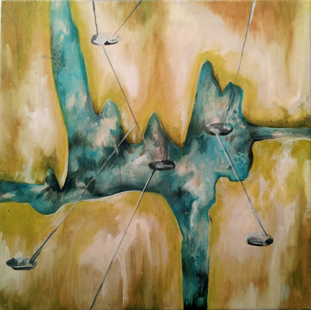 "elsewhere, 24x24"", oil and graphite on canvas, 2012, private collection"